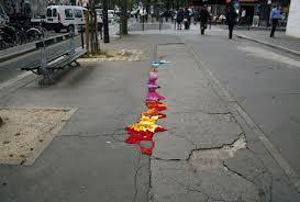 Cracks in the city street
