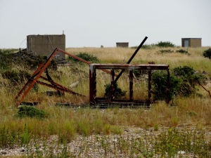 The derelict remains of the military base on Orfordness.